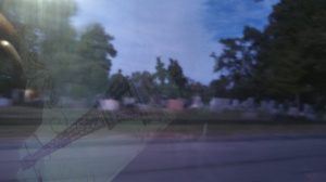 reflections at a car window