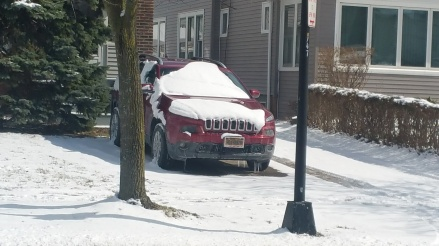 jeep with snow